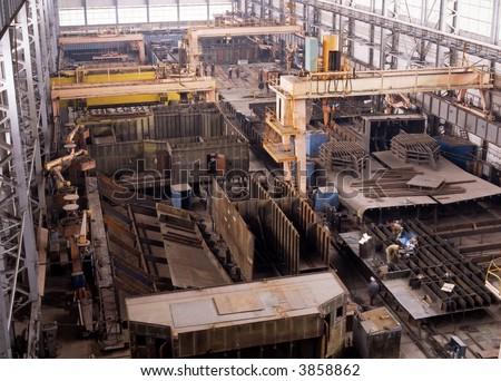Shipbuilding. Hull repair shop - stock photo
