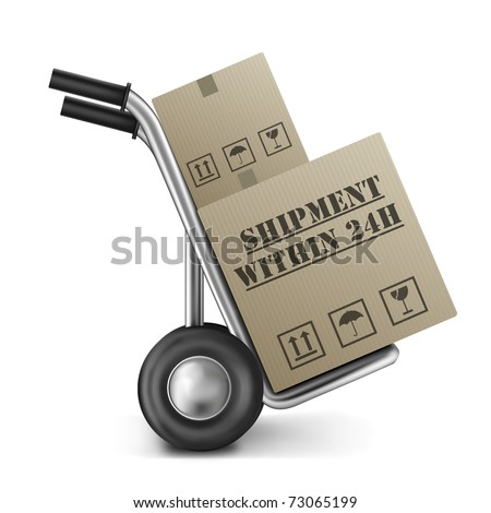 shipment within 24h brown cardboard box on hand truck or trolley online internet shopping order shipping from web store or shop - stock photo