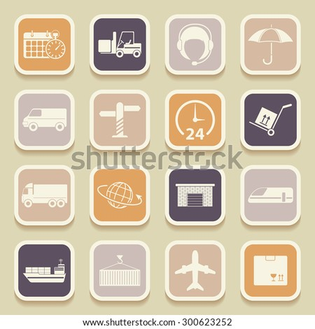 Shipping and logistics universal icons for web and mobile applications. Raster version - stock photo