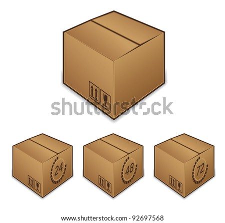 Shipping box icons with time - stock photo