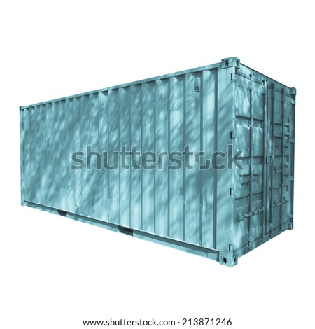 Shipping container used for cargo freight delivery by ship aircraft train truck - cool cyanotype - stock photo