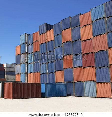 shipping containers in port - stock photo
