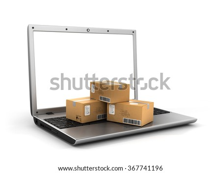 Shipping, delivery and logistics technology business industrial concept. Heap of stacked corrugated cardboard package boxes on computer PC laptop. Delivery concept. - stock photo