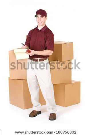 Shipping: Delivery Man With Stacks Of Boxes