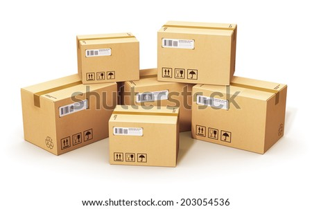 Shipping, logistics and retail goods delivery business concept: stack of corrugated cardboard box packages isolated on white background - stock photo
