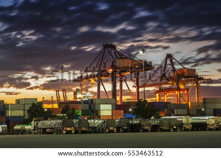 Shipping port in sunset