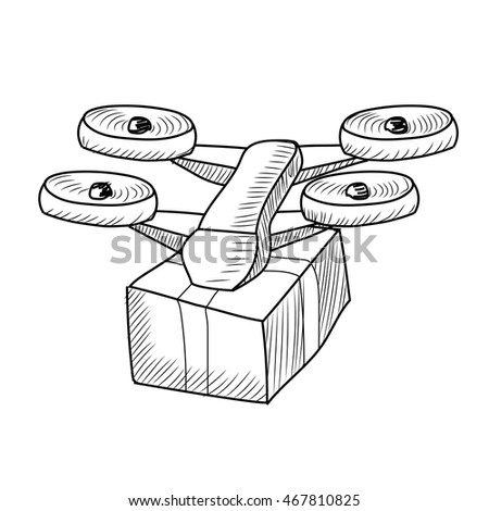 Shipping Quadcopter Dron Courier With Box Freehand Drawing Drone Infographics