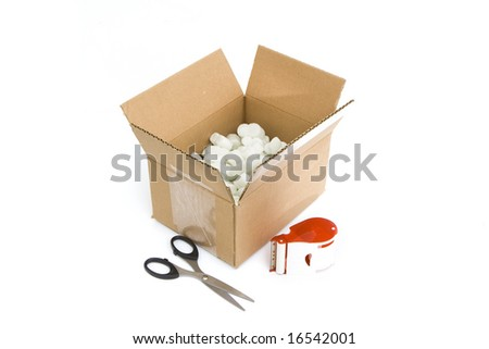 shipping supplies isolated against white background - stock photo