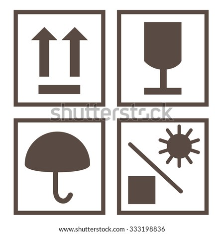 Shipping symbols keep dry, sign up, fragile and protect from sun raster. Package symbols - stock photo