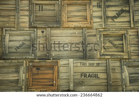 Shipping vintage crates background - stock photo