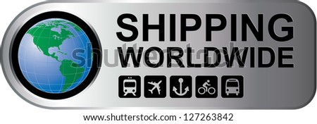 Shipping Worldwide Silver Sign - stock photo