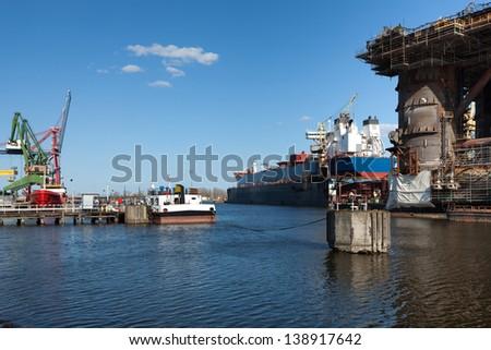 Shiprepair yard of Gdansk, Poland. - stock photo