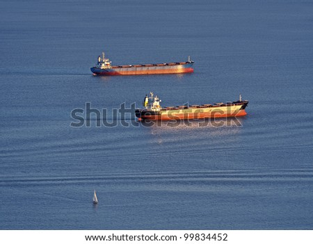 ships and tankers in the bay - stock photo