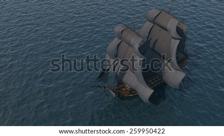 ships far in the ocean aerial view - stock photo