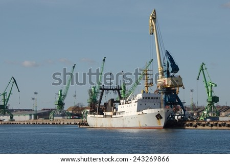 Ships in an industrial dock - stock photo