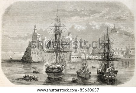 Ships in Gaeta port, Italy. Created by Lebtreton after sketch of Brocard, published on L'Illustration, Journal Universel, Paris, 1860 - stock photo