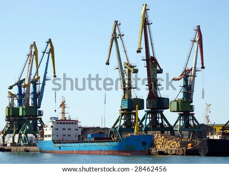 Ships in seaports on island Sakhalin - stock photo