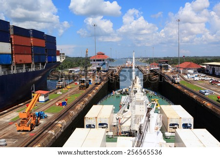 Ships in the Panama Canal - stock photo