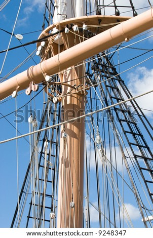 Ships rigging from the frigate HMS Surprise, docked in San Diego, California. - stock photo