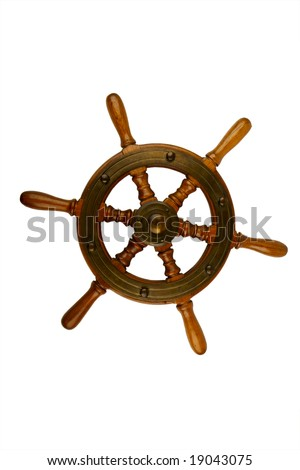 Ships wheel  isolated on the white background - stock photo