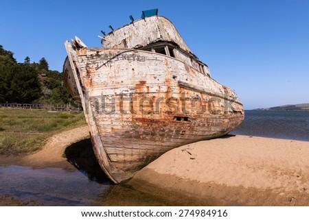 Shipwreck, Abandoned Wooden Boa - stock photo