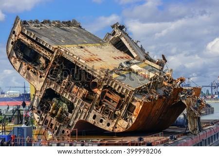 Shipwreck ad shipyard - stock photo