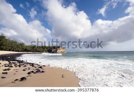 Shipwreck Beach, Poipu, Kauai, Hawaii - stock photo