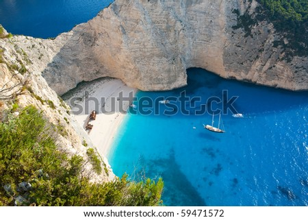 Shipwreck beach with beautiful white sand and turquoise water in Zakynthos, Greece - stock photo