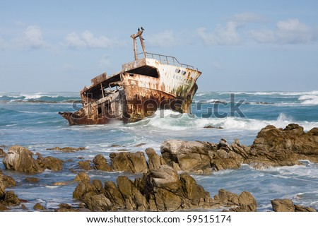 Shipwreck in Cape Agulhas (South Africa).