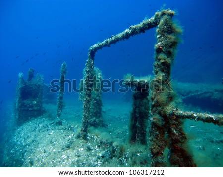 Shipwreck in the Mediterranean Sea - stock photo