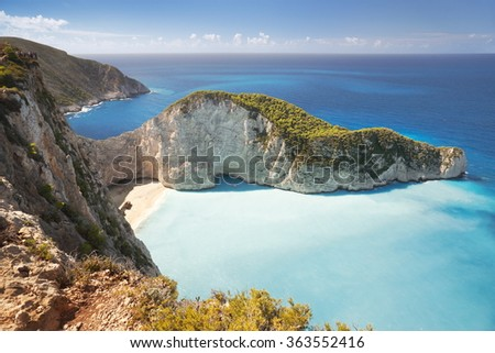 Shipwreck, Navagio Beach, Zakynthos Island, Greece - stock photo