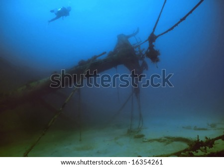 Shipwreck off the British Virgin Islands - stock photo