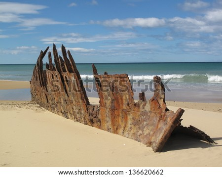 Shipwreck remains of the Trinculo, an iron sailing barque, on East Gippsland beach Victoria - stock photo