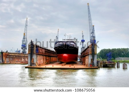 shipyard in the eemhaven at the port of rotterdam,europoort. - stock photo