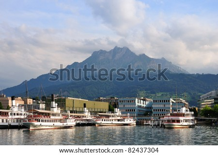 Shipyard on the Lucerne lake under Pilatus mountain, Switzerland