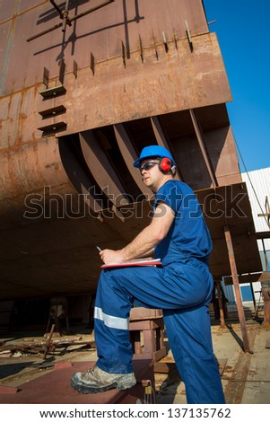 Shipyard worker - stock photo