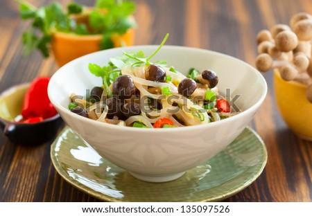 Shirataki noodles with mushrooms - stock photo