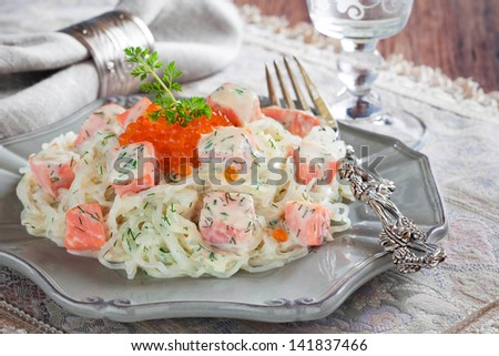 Shirataki noodles with smoked salmon and dill in creamy sauce - stock photo