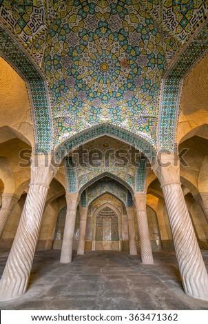 Shiraz, Iran - December 26, 2015: Beautiful columns in Vakil Mosque, Shiraz, Iran - stock photo