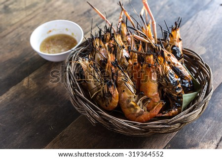 Shirmp grilled ready to be serve. thailand food - stock photo