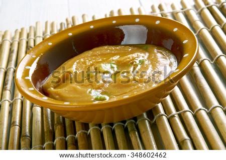 Shiro homogeneous stew ingredient is powdered chickpeas.Eritrean cuisine  - stock photo