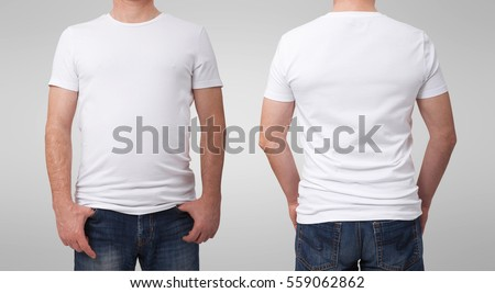 Shirt design and people concept - close up of man in blank white tshirt front and rear isolated. Clean empty mock up template for design set.