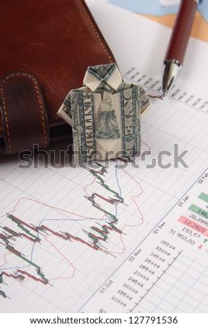 shirt for dollars. business scene. - stock photo
