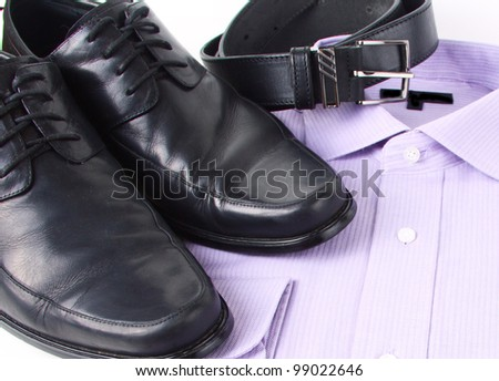 shirt, shoes and belt - stock photo