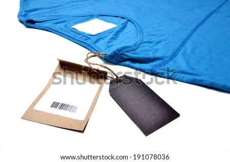 shirt with price tag on white background - stock photo