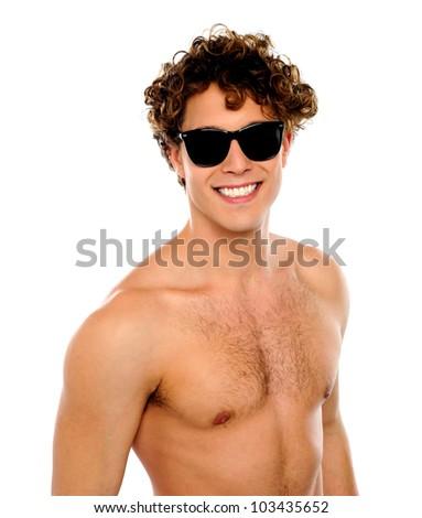 Shirtless guy with sunglasses, closeup shot. Smiling - stock photo