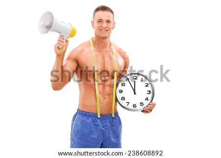 Shirtless man holding a clock and a megaphone isolated on white background - stock photo