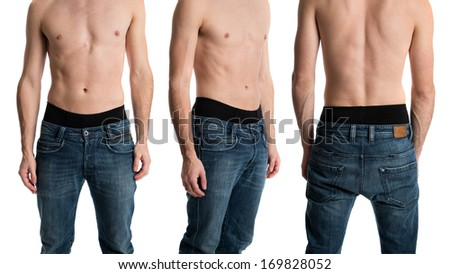 Shirtless man in jeans from three angles. - stock photo