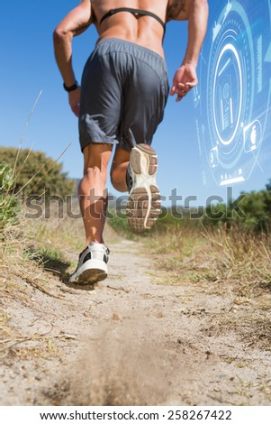 Shirtless man jogging with heart rate monitor around chest against fitness interface - stock photo