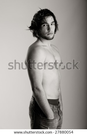 Shirtless young man portrait - toned in PS - stock photo